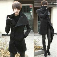 2014 New Winter Trench Coat Men Long Coat For Men Turn Down Collar Single Breasted Overcoat