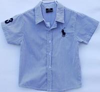 lys2 short sleeve blue / red striped boys shirts brand 2-7 age kids polo shirt free shipping 5pcs/ lot