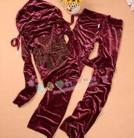 2014 gold velvet rhinestones straight female pants yoga set velvet sweatshirt casual sports set