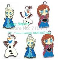 New Hot Sale - 200pcs New Princess Frozen Olaf Elsa Anna Enamel Metal Charms Jewelry Making Pendants Earrings