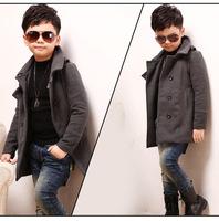 Retail 4-12T Fall&Winter Children Coat Fashion Baby Casual Woolen Windbreaker Kids Jacket Temperament Children Outwear C30