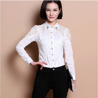 New 2015 Womens elegant casual Long sleeve lace patchwork Cross office uniform body blouses shirts for work wear S M L XL