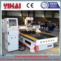 China Jinan ATC CNC Router / pneumatic three head cnc router machine for wood working