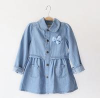 fyb11 new 2014 denim girl dress 2-8 age long sleeve kids dress brand girls clothes 5pcs/ lot free shipping