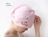 Free shipping. Cartoon rabbit, shower cap super absorbent function microfiber towel dry hair.