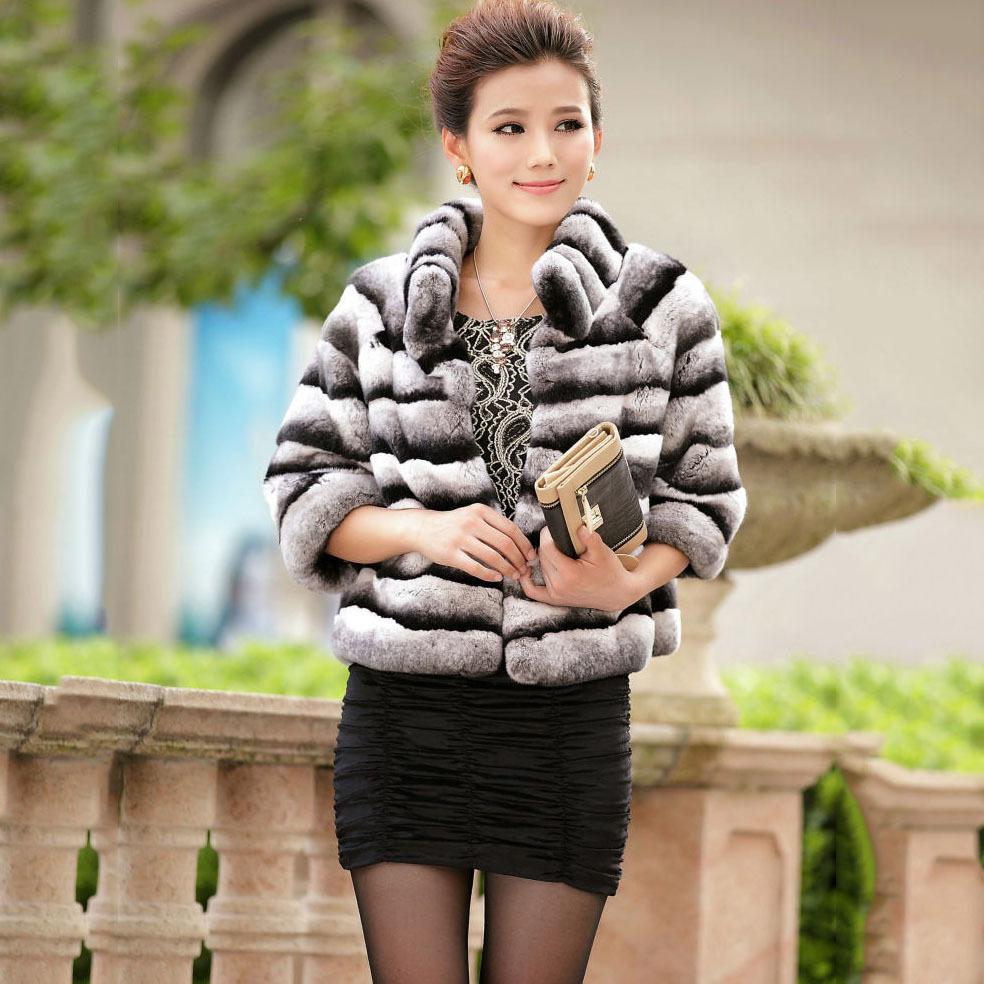 2014 New hot sell fashion women spring autumn winter short female rex rabbit Chinchilla Fur Jacket stand collar Coat CW2932(China (Mainland))