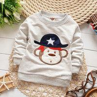 2014 autumn Free Shipping Cotton Fashion cute monkey Children T Shirts,Kids Boys Tops,Child Tees longsleeve Clothing 4pcs/lot