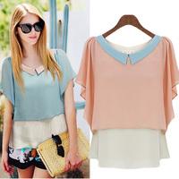 Female short-sleeved chiffon shirt 2014 summer new Korean women doll collar shirt chiffon blouse shirt big yards