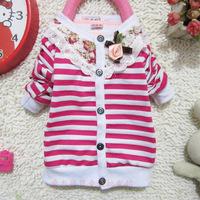 Children's clothing baby girls stripe flower outerwear jackets for kids child autumn coat princess cardigan retail 1pcs dropship