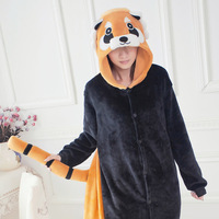 Small flannel raccoon animal one piece sleepwear cartoon autumn and winter coral fleece long-sleeve female lounge