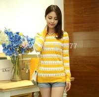 2014 autumn stripe cutout women's slim knitted sweater female sweater basic shirt