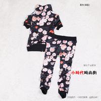 2014 female fashion silk floss stand collar short-sleeve casual sports set