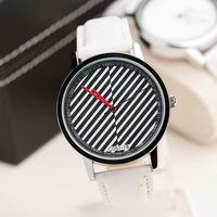 Free Shipping,New Retail Fashion Men Women Dress Watches,Diagonal Stripes Model Unisex Casual Style Leather Strap Quartz Watches