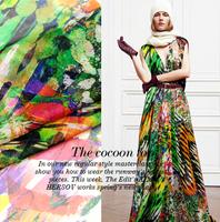 Sheer Forest Print 100%Silk Chiffon Fabric   135CM*100CM  6Mommie