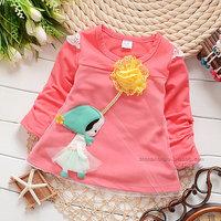 2014 autumn Free Shipping Cotton Fashion cute floral Children T Shirts,Kids Boys Girls lace Tops, longsleeve Clothing 4pcs/lot
