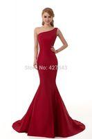 Elegant Satin One Shoulder Mermaid Burgundy Red Evening Dress Long Fishtail Evening Party Dress Women Formal Gown Custom Made