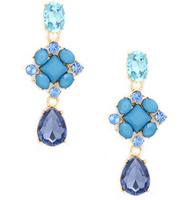 New Bohemia Waterdrop Square Earrings Blue Gem Earrings Rhinestone Lovely Flower Earrings