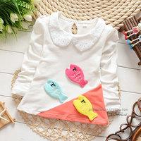2014 autumn Free Shipping Cotton Fashion cute fish Children T Shirts,Kids Boys Girls lace Tops, longsleeve Clothing 4pcs/lot