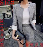 2 Pieces New Hot 2014 autumn slim elegant blazer formal set shorts grey twinset set