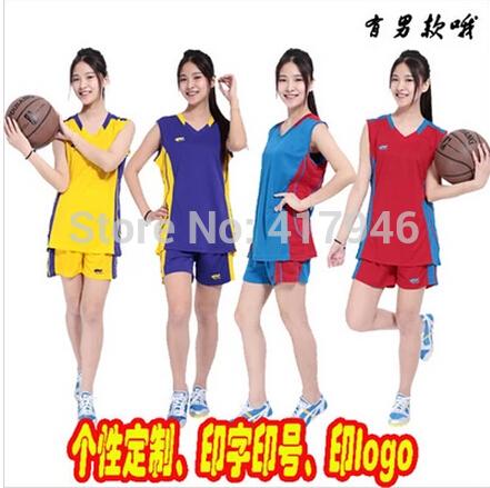 New 2014 Basketball Suit (jacket + shorts) Women Custom Big Yards Sportswear Group Buying Woman Basketball Jersey XL-4XL t1168(China (Mainland))