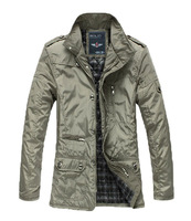 2 Colors Spring/Autumn Polyester Casual Men Trench Coat Outerwear Overcoats Jacket Male Business Jacket Slim Clothes