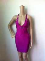 Free shipping Top quality 2014 new Purple V-neck kim kardashian sleeveless dresses HL bandage dress celebrity dresses