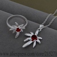 SY-AS542 925 sterling silver Jewelry Sets Ring 535 + Necklace 859 /bfiajwpa fbnansua