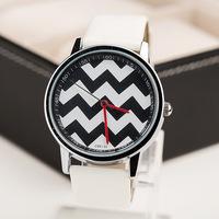 Free Shipping,Promotion New Arrival Fashion Wave Stripe Model Leather Strap Watches,Unisex Men Women Dress Quartz Watches