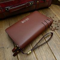 Free shipping 2014 multi-function man 100% genuine leather wallet men clutch wallet mobile messenger bag, hand bag