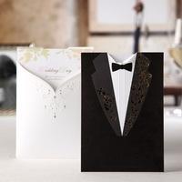 Free Shipping 50pcs/Lot Wedding Supplies Vintage Wedding Invitation Card Groom And Bride  Invitation Talble Cards