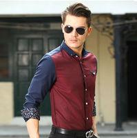 New  2014   Fashion  men  Casual  slim fit shirts   brand  long sleeve  patchwork   shirts  CPJ1001-2  XS S M L XL XXL XXXL