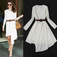 [R-261] Free shipping star dress women 2014 The new Slim temperament elegant banquet irregular dress waist