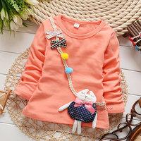 2014 autumn Free Shipping Cotton Fashion cute rabbit Children T Shirts,Kids Boys Girls lace Tops, longsleeve Clothing 4pcs/lot