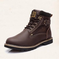 2014 new fashion Men's winter boots casual genuine leather Martin boots Men warm cotton-padded shoes rivet  676