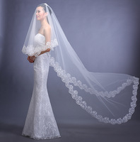 In Stock 2.8 M Two Layers Lace Appliqued Vintage Wedding Veils 2014 New Arrival