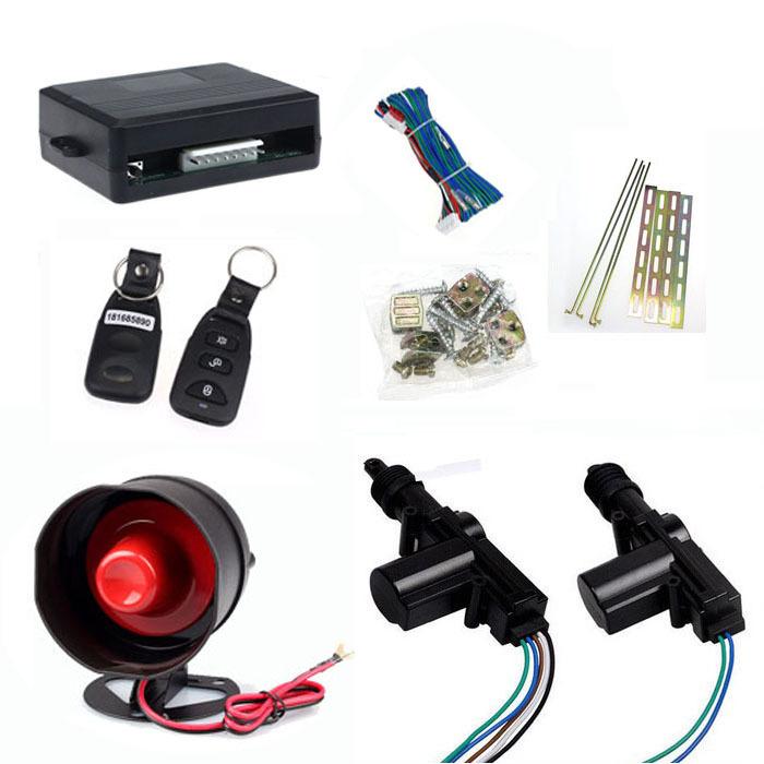 24V Car Alarm Remote Siren Shock Sensor Central Locking 2 Door Kit Free shipping &wholesale(China (Mainland))