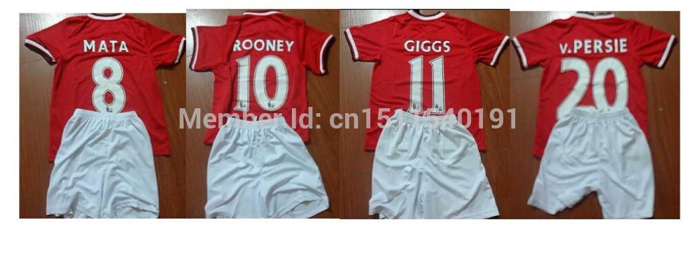 free shipping kid boy MATA Rooney januzaj v. Persie Giggs nani new manchester 14 15 football shirt soccer jersey custom name(China (Mainland))