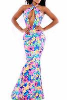 Sexy Women Summer/Autumn Dress 2014 Long Backless Floral Print Sleeveless Halter Maxi Elegant Party Dress B4763
