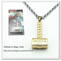 Free shipping Unisex Metal Alloy Stainless Steel Punk Hiphop Movie Cartoon Anime Thor hammer Pendant Carving Chain Necklace WD24