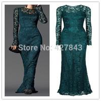 Elegant Round Neck Modest Long Sleeves Evening Dress Lace Sheath Gem Green Women Long Formal Dress for Wedding Party 2014 New