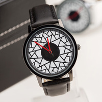 Free Shipping,Retail Newest Arrival Fashion Broken Crack Hot Design Leather Strap Watches,Unisex Men Women Dress Quartz Watches