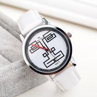 Newest Retail PU Strap Men Women Dress Watches,Creative Linellae Face,Unisex Style Fashion Dress Quartz Watch,Free Shipping