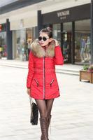 6XL 7Xl 8XL Plus Size 2014 Winter New Korean Version Imitation Raccoon Fur Collar Long Down Jacket Jaqueta Feminina