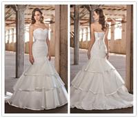 Free Shipping Charming Sweetheart New Arrival 2014 White Ivory Design Beading Mermaid Wedding Dresses OE113