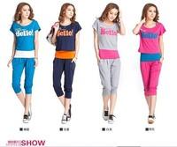 2014 New women's sports suit female Korean version of casual sportswear suit short-sleeved sweater