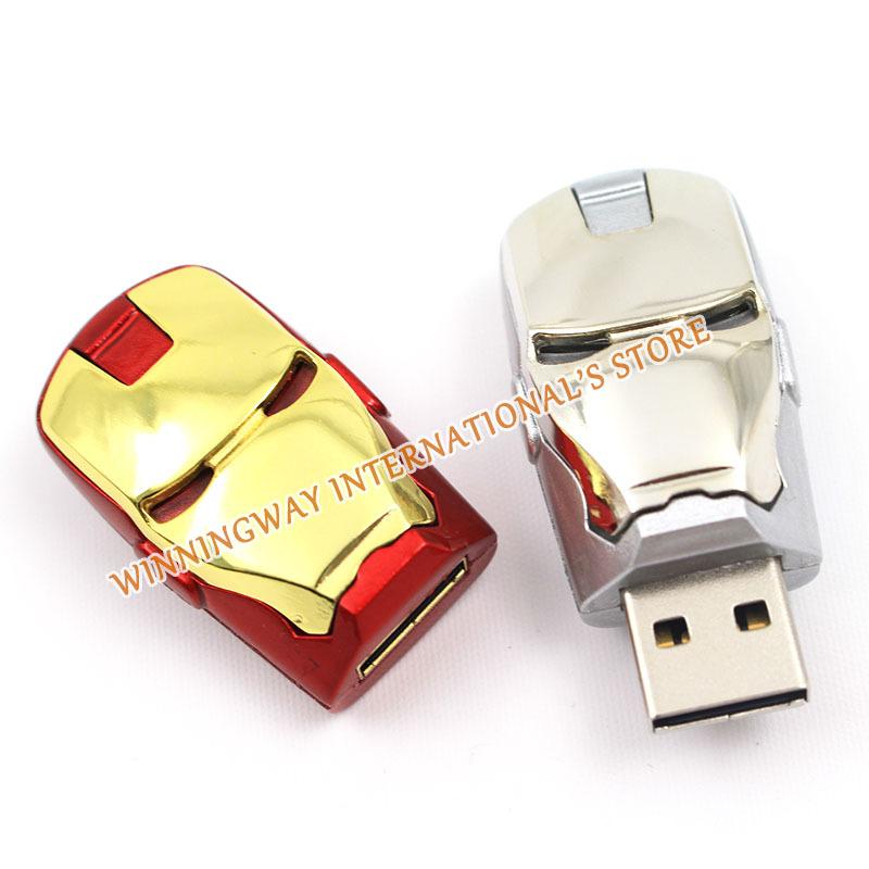 Newest Metal Iron Man robot pendrive 64GB USB flash drive pen drive memory flash disk 64GB memory card free shipping(China (Mainland))