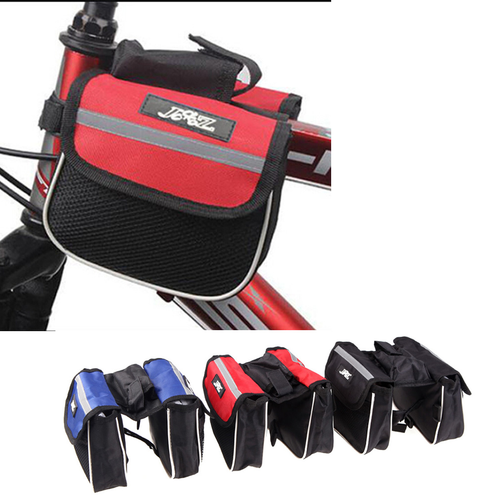 New Outdoor Sports Cycling Mountain Road MTB Bicycle Bike Frame Saddle Bag Pannier Front Tube Bags Double Sides Red/Blue/Black(China (Mainland))