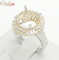 10.5mm Round 14K White Gold Natural Pave Set Diamond Semi Mount Setting Ring Free Shipping