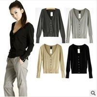 2014 Spring European and American original single V-neck Slim single-breasted women's long sleeve knit cardigan