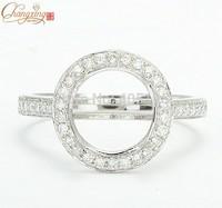 9.7mm Round 14K White Gold Natural Pave Set Diamond Semi Mount Setting Ring Free Shipping